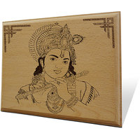 Shri Krishna With Murli Wooden Engraved Plaque