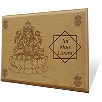 Laxmi Maa Ki Jai Wooden Engraved Plaque