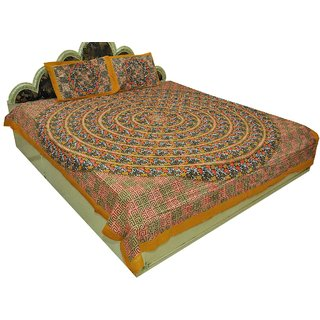 Designer Exclusive 3 Pcs. Ethinic Floral Print King Size Double Bed SheetSRA2353