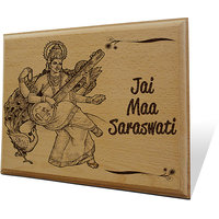 Jai Maa Saraswati Wooden Engraved Plaque