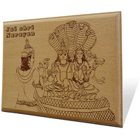 Jai Shri Narayan Wooden Engraved Plaque