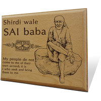 Shirdi Wale Sai Baba Wooden Engraved Plaque
