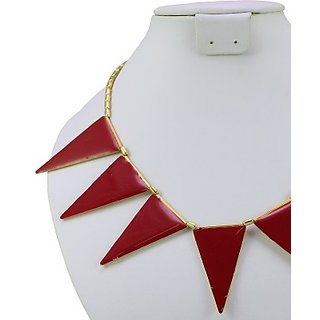 Triangle Spike Metal Alloy Necklace Red