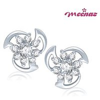 Meenaz Double Row Gold & Rhodium plated CZ Earrings T107
