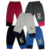 Om Shree Multicolour Cotton Kids Rib Track Pant (Pack of - 5)