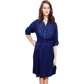 INDICOT Navy Blue ALine Dress for Womens Western Wear Top Dresses