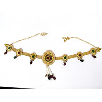 Golden Multiple Oval Shape Brooch Waist Belt