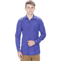 Routeen Royal Blue Solid Slim Fit Casual Shirt