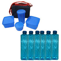 Combo Of  4Pcs Lunch Box With Insulated Bag + 6 Water Bottles