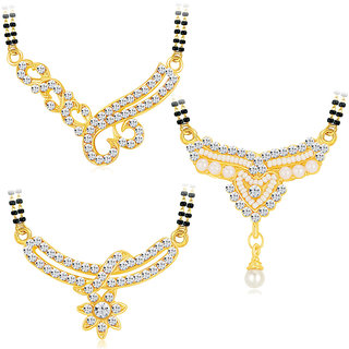 Shostopper Gold Plated Contemporary Combo of 3 Mangalsutra Pendant 3 Black Beads Chain For Women