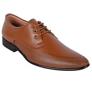 ShoeAdda Elegant Tan Lace Up Shoes Q15