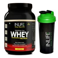 INLIFE Whey Protein Powder 2lb - Vanilla Flavour With Free Shaker