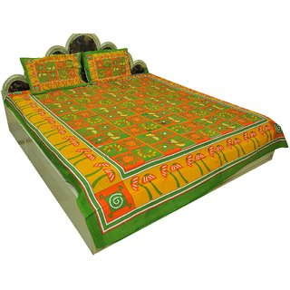 Jaipuri Pure Cotton 3 Piece Double Bed Sheet Bed Spread SRA2376