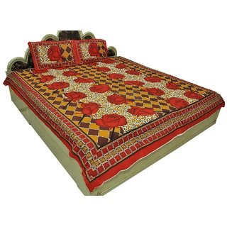 Designer Exclusive 3 Pcs. Floral Print King Size Double Bed Sheet SRA2415