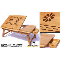 Portable Multipurpose Laptop Wooden E-table For Study Reading with dual fan