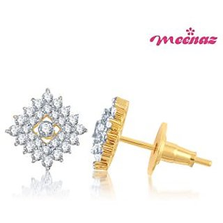 Meenaz Cubic Grid  Gold & Rhodium Plated CZ Earings T114