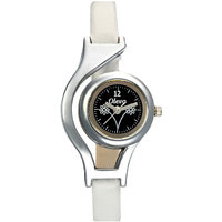 Oleva Round Dial White Leather Strap Womens Watch