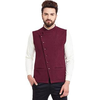 Hypernation Maroon Nehru neck Casual Jacket