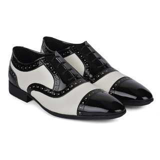 Ziraffe CHIVAS Black/White Mens Leather Formal Shoes