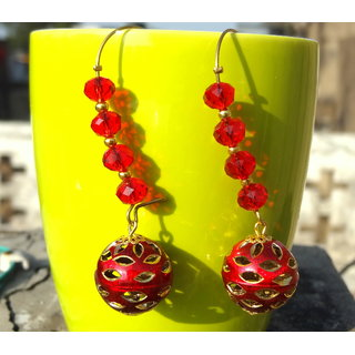 Red And Gold Festive Drop Earring
