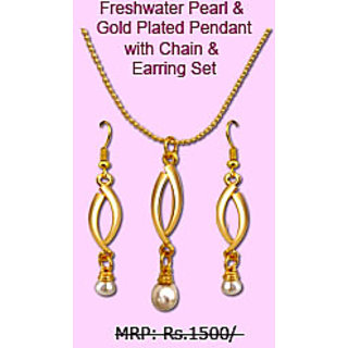 Surat Diamond... New Fresh Water Pearl & Gold Plated Pendant with Chain & Earring Set. EF SD 02. available at ShopClues for Rs.299