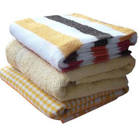 Bpitch FamilyPack Bath Towels (Set of 3) (61X120Cm)-370 Gsm-Yellow