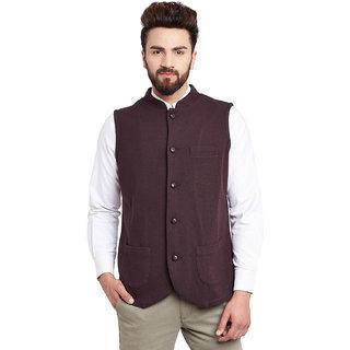 Hypernation Solid Mens Burgundy colored Nehru Neck Waistcoat
