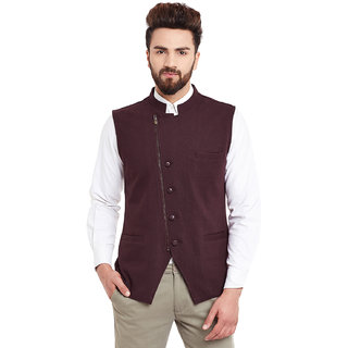 Hypernation burgundy colored Nehru Neck Side Zipper with Buttons waistcoat