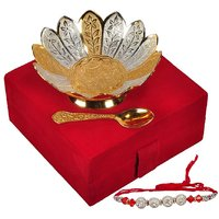 Rakhi Festival Gifts Silver And Gold Plated Brass Bowl