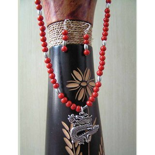 Burnt Orange Ceramic Beads Necklace With A Cool Dragon Pendant