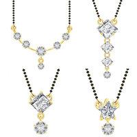 Jewels Galaxy American Diamond Mangalsutra Set For Women - Combo of 4