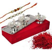 Raksha Bandhan Decorative Gifts Silver Plated Floral Shaped Bowls