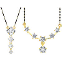 Jewels Galaxy Exclusive AAA American Diamond Traditional Designer Mangalsutra Collection - Set of 2