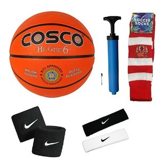 Cosco Hi-Grip Basketball (Size-6) with Air Pump Head Band (2Pcs.) Free Pair of Wrist Band Soccer Socks