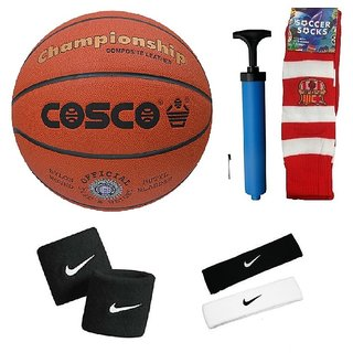 Cosco Championship Basketball (Size-6) with Air Pump Head Band (2Pcs.) Free Pair of Wrist Band Soccer Socks