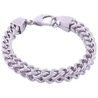 The Jewelbox Mens Boys Three Dimensional Curb 316L Stainless Steel Bracelet