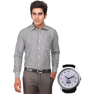 D&Y Exclusive Combo Of Formal Shirt And D&Y Analog Watch(W142)