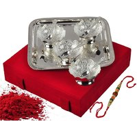 Rakhi Festival Decorative Gift Silver Plated Brass Floral Bowls