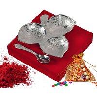 Raksha Bandhan Family Gift Silver Plated Brass Serving Tray