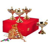 Rakhi Family Gift Silver And Gold Plated Ice Cream Bowls Set
