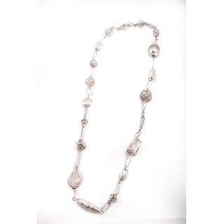 Metal Necklace In Chrome Finish  - Harp