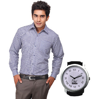 D&Y Exclusive Combo Of Formal Shirt And D&Y Analog Watch(168)