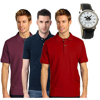 Swank Set Of 3 Polo Neck T-shirt With Polo Watch SKCT 2091