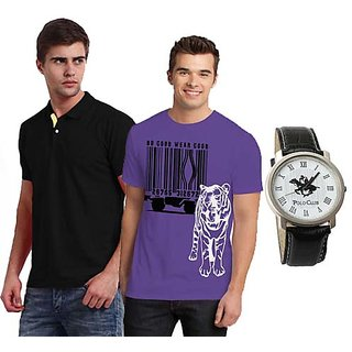 Set Of 1 Polo Neck T-shirt And 1 Round Neck T-shirt With Polo Watch SKCT 203