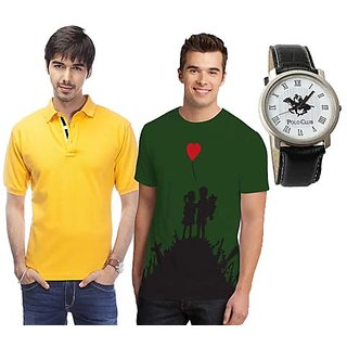 Set Of 1 Polo Neck T-shirt And 1 Round Neck T-shirt With Polo Watch SKCT 204