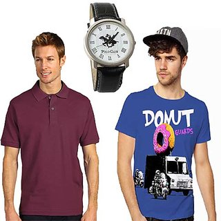 Set Of 1 Polo Neck T-shirt And 1 Round Neck T-shirt With Polo Watch SKCT 207