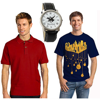 Set Of 1 Polo Neck T-shirt And 1 Round Neck T-shirt With Polo Watch SKCT 212
