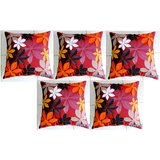 Felt Flower Patch Cushion Cover Red 30/30 Cm Set Of 5 Pcs
