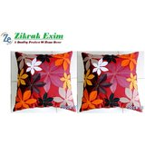 Felt Flower Patch Cushion Cover Red 30/30 Cm Set Of 2 Pcs