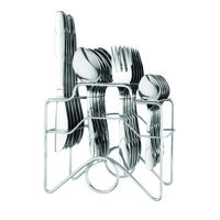 Elegante Zenith Mountain Knife Steel Look Cutlery Set - 24 Pcs With Stand